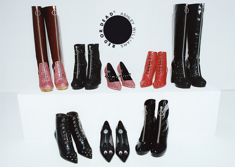 ashley williams x red or dead collection AW15 featuring womens knee-high boots ankle boots and heels