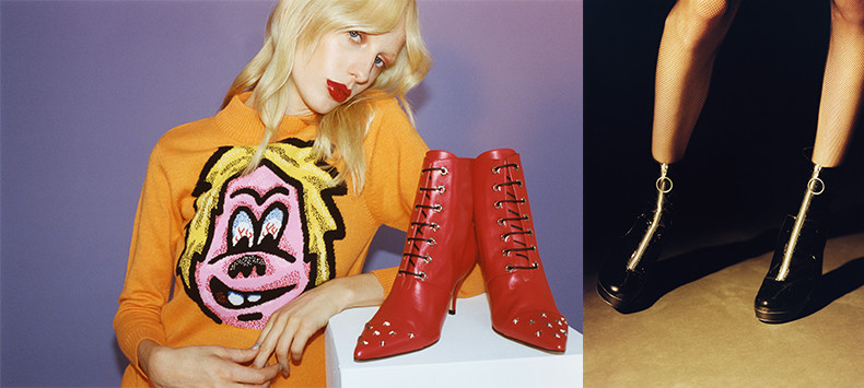 ashley williams x red or dead collaboration AW15 featuring ellie ankle boots in red leather with studs and black patent leather eve ankle boots