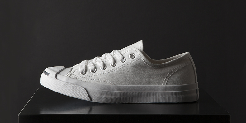 converse jack purcell trainers for men and women in white canvas with white toe cap