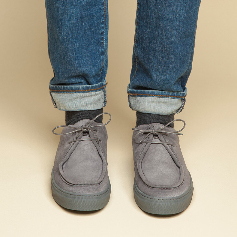 northern cobbler trainer lo shoes for men on grey suede worn with turned up blue jeans