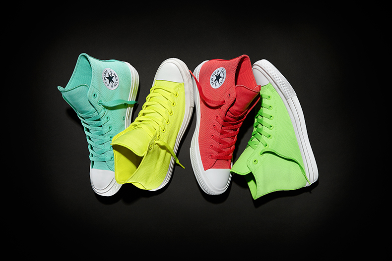 converse all star chuck II hi neon trainer in red, yellow, lime,& turquoise