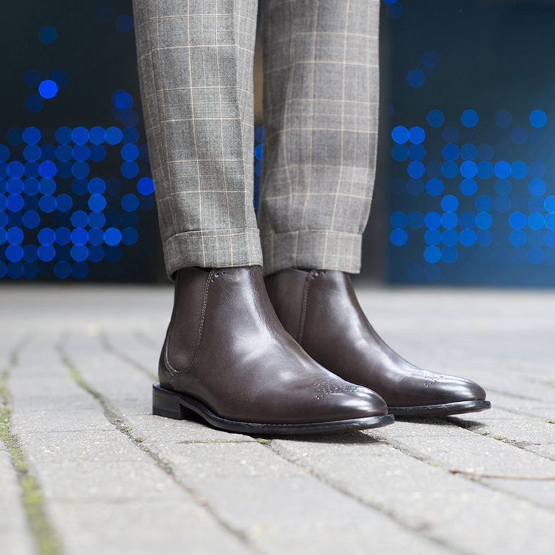 Sweeney London mens chelsea brown leather burrows boots worn with tweed trousers