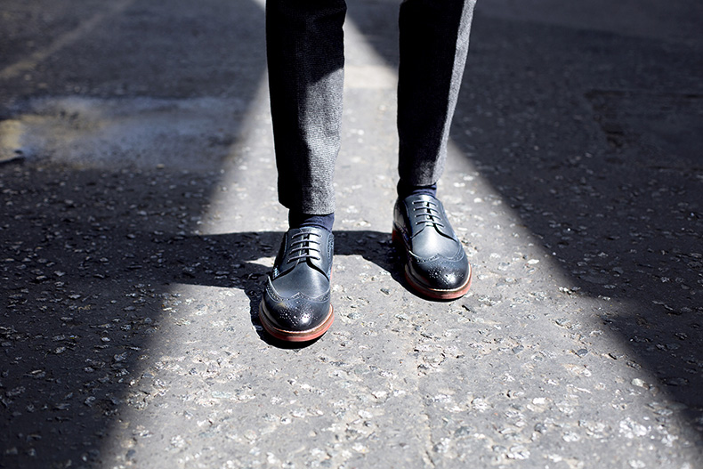 sweeney london mens formal mallham shoes in navy leather outside on pavement worn with smart trousers