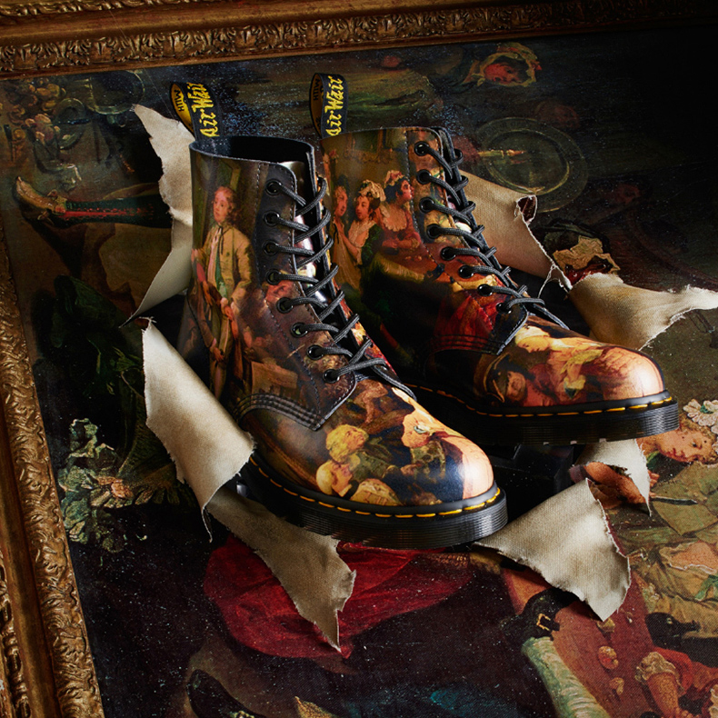 dr martens 1460 8 eye womens leather boots with multicoloured print of william hogarth's a rake's progress painting