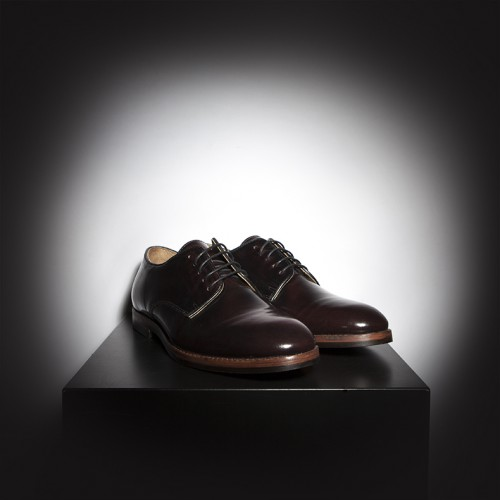 H by Hudson Hallam Derby shoes in shiny burgandy leather with rubber sole