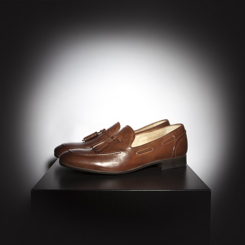 H by Hudson Rene Tassel slip on loafers in a tan leather