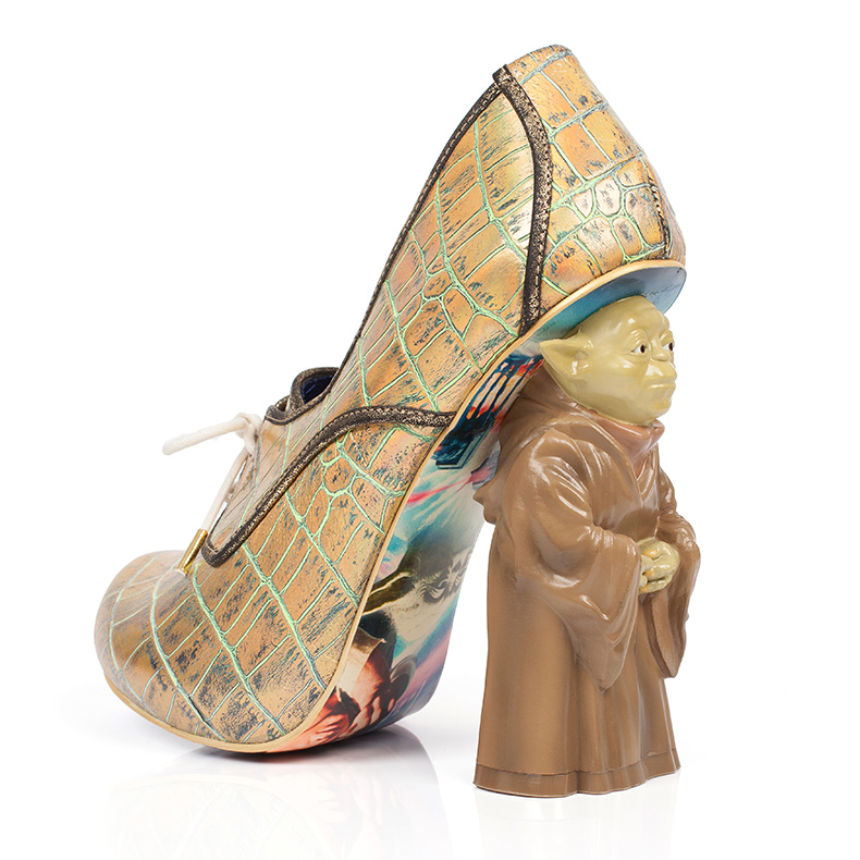 womens irregular choice star wars high heel in gold leather with a yoda heel