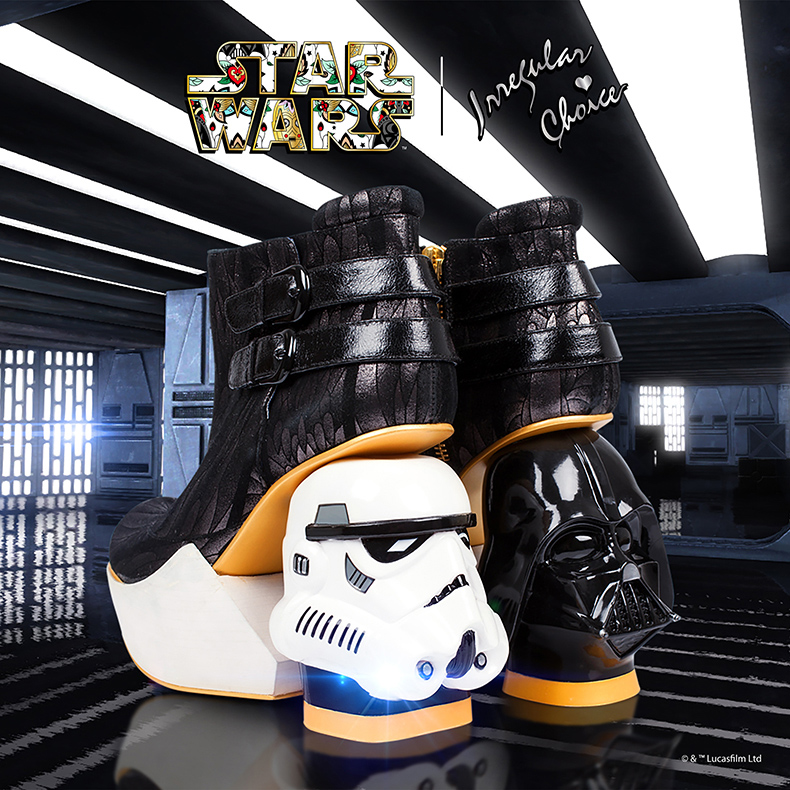 star wars and irregular choice womens The Death Star high heels with stormtrooper and darth vader heels in black and white