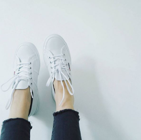 womens white superga trainers