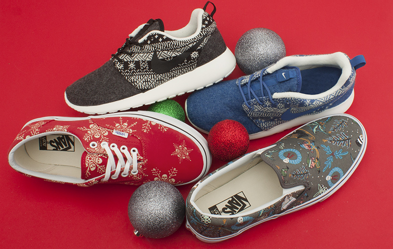 womens and mens nike and vans trainers on red background with festive bobbles at schuh
