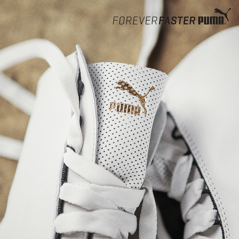 puma rihanna boxing eskiva hi trainers in white and black leather with gold  branding and perforated af1eaf577