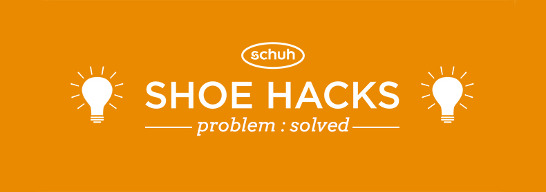 schuh shoe life hacks blog header in orange and white