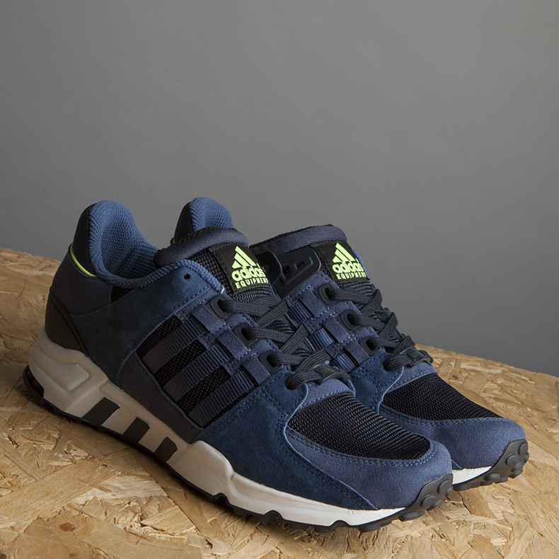 adidas navy equipment running trainers pair side on
