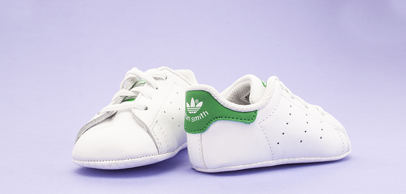 adidas stan smith baby shoes in white leather with green branding for kids at schuh