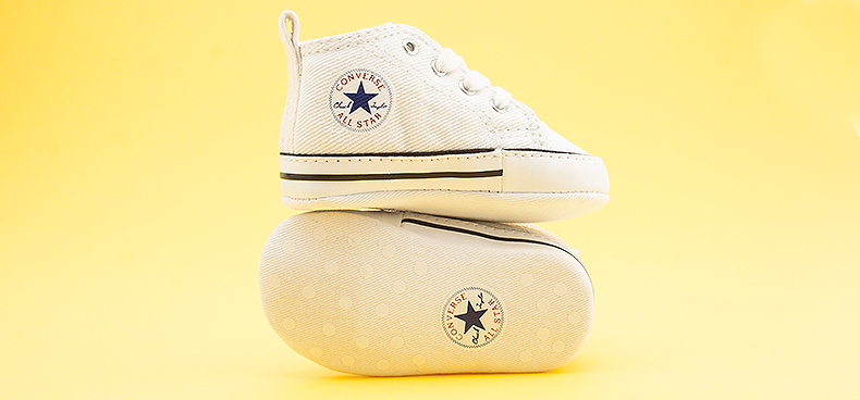 baby converse shoes 1st star crib white fabric trainers for kids at schuh