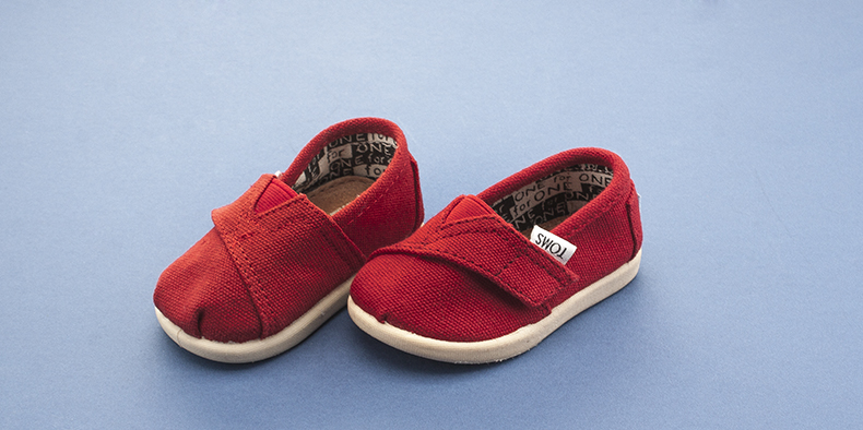 red toms baby shoes made from fabric available at schuh