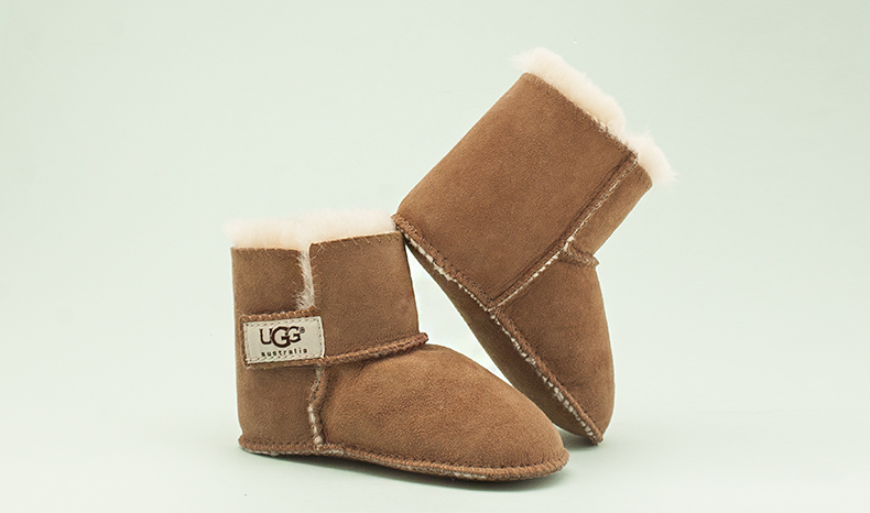 ugg baby boots in tan suede with shearling lining for kids at schuh