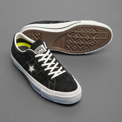 converse one star hairy suede trainers in black