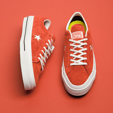 converse one star hairy suede trainers in red