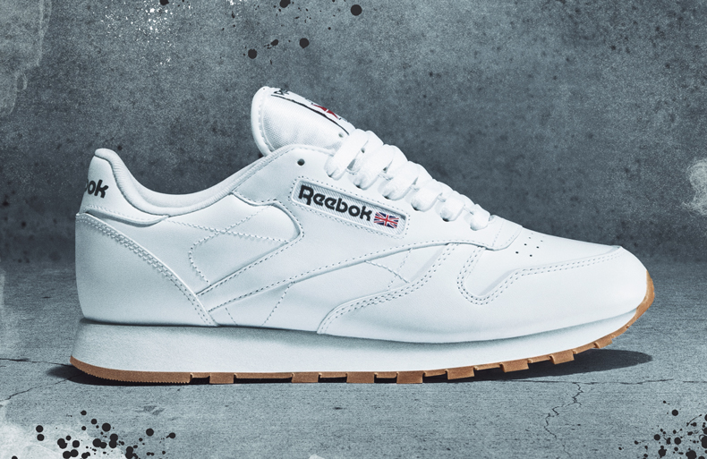 side profile of white reebok classic trainer