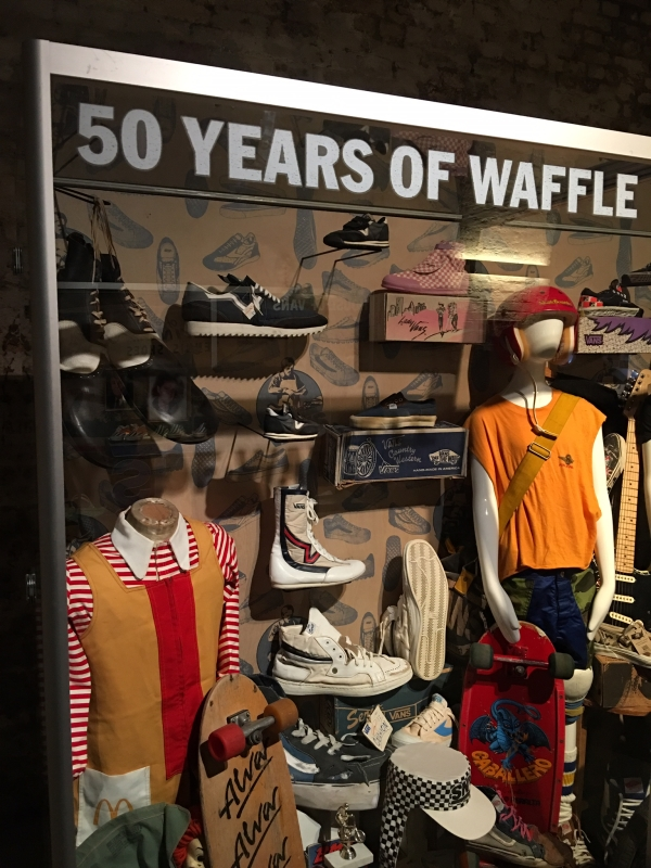 vans 50 party with vintage products in display cabinet