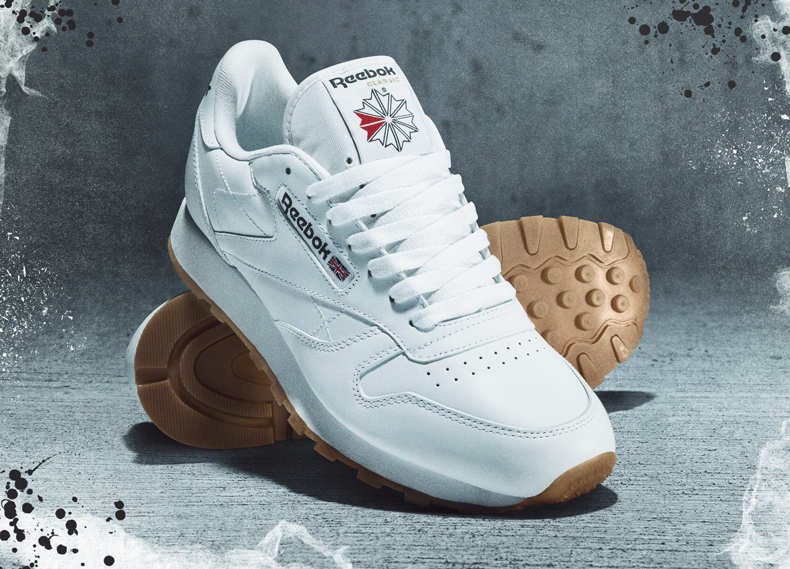 white reebok classics showing gum sole