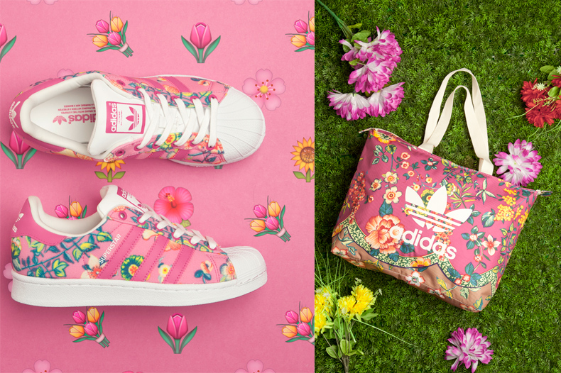 womens adidas floral superstar trainers and pink floral adias shopper bag