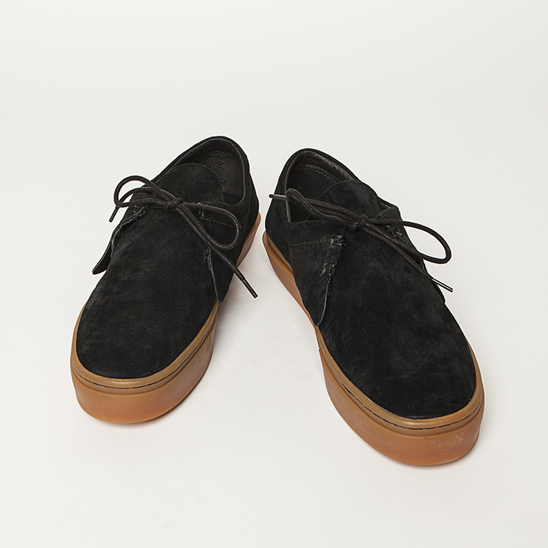 clear weather black suede santora trainers with gum sole
