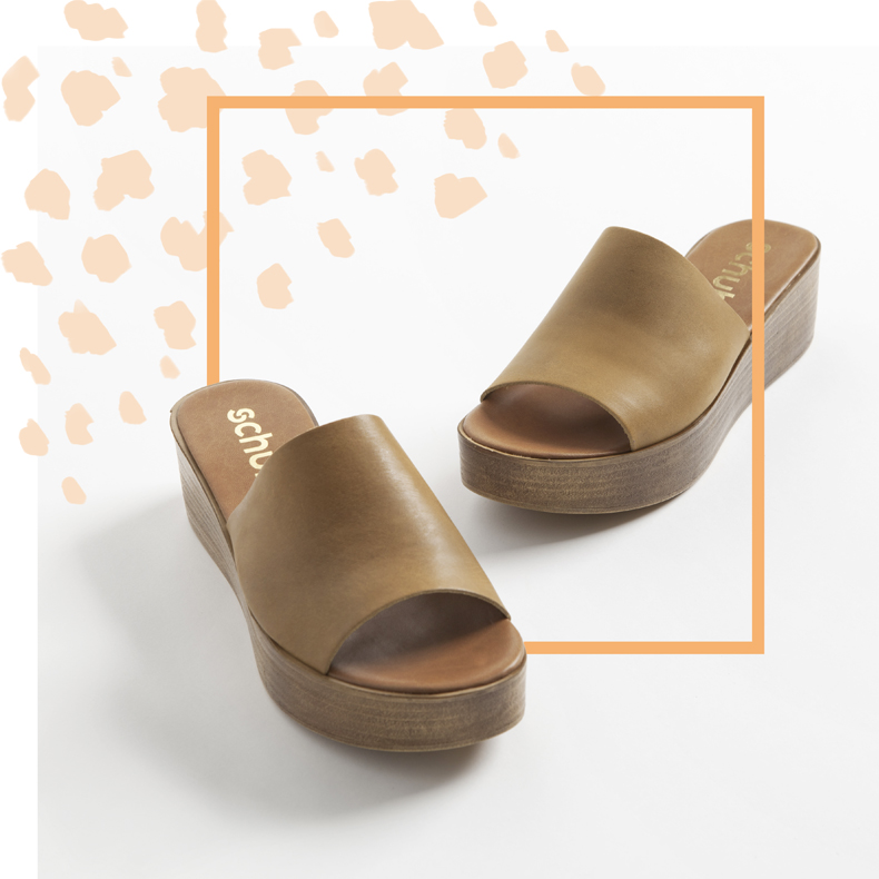 schuh Helsinki flatform sandal in tan leather