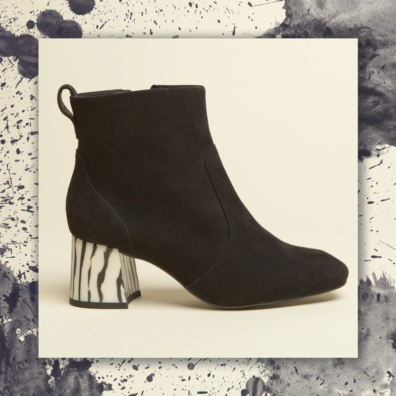 schuh Goodness Black Suede Ankle Boots Statement Heel