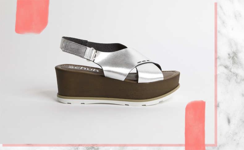 schuh's silver leather Solstice flatform sandals