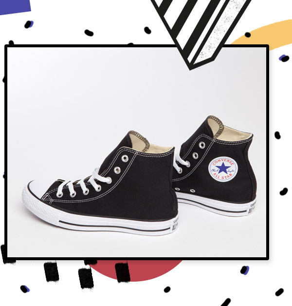 black converse all star hi trainers