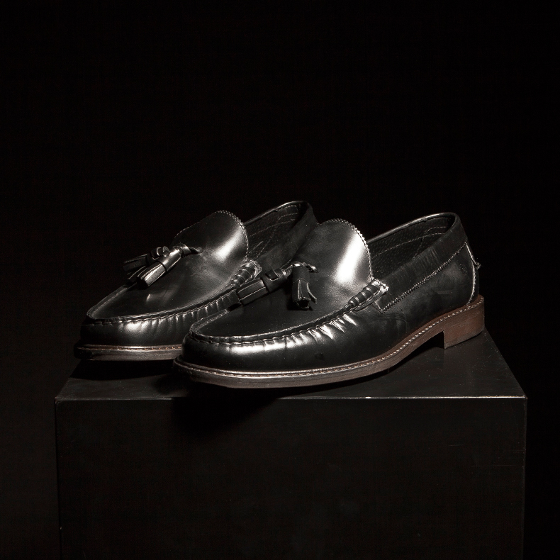 red or dead mr banks penny black loafer shoes