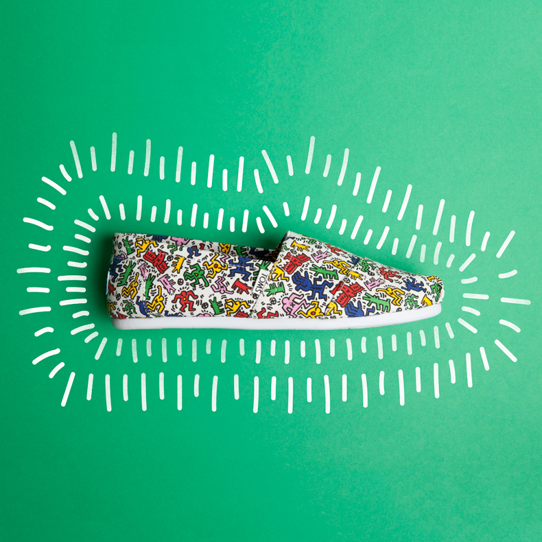 toms classic keith haring flats with multi-coloured print and graphics