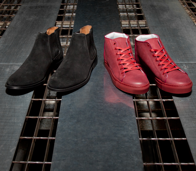 mens momentum black suede harrison chelsea boots and red leather melbourne lace hi boots on schuh blog