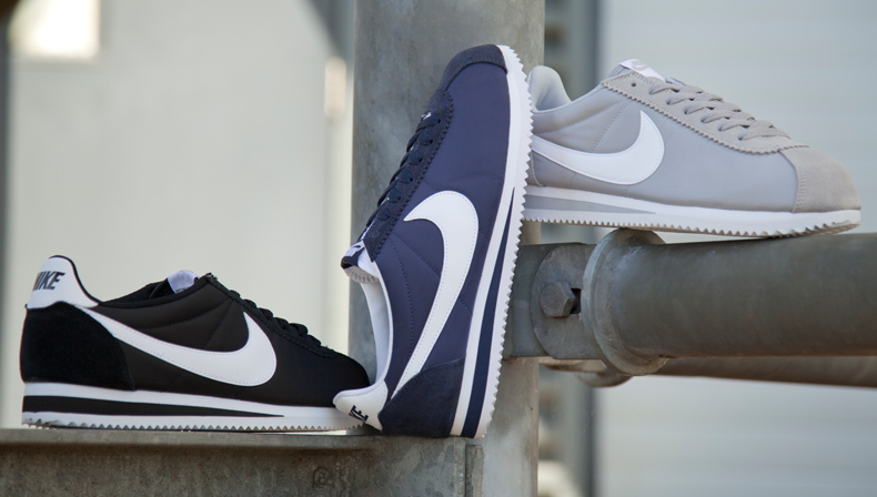 Nike Cortez trainers in navy, black and grey