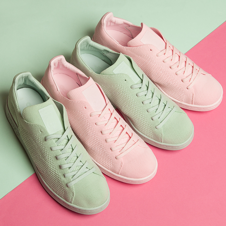 adidas stan smith primeknit green and pink trainers