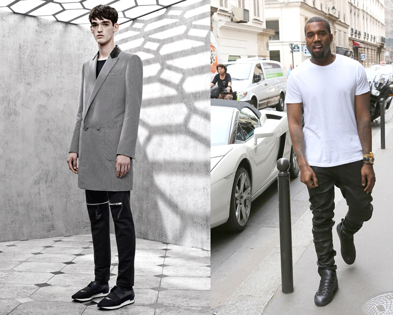 balenciaga spring 2015 menswear collection and kanye west wearing black leather arena sneakers schuh blog