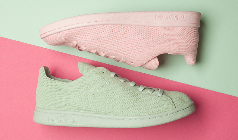 header adidas stan smith primeknit green and pink trainers