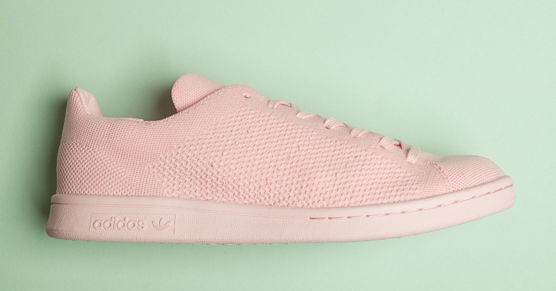 single side view of adidas stan smith primeknit in pink