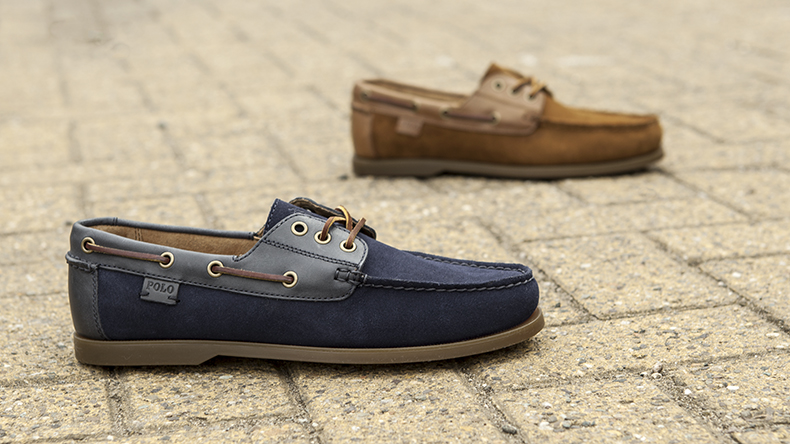 polo ralph lauren navy and tan bienne boat shoes