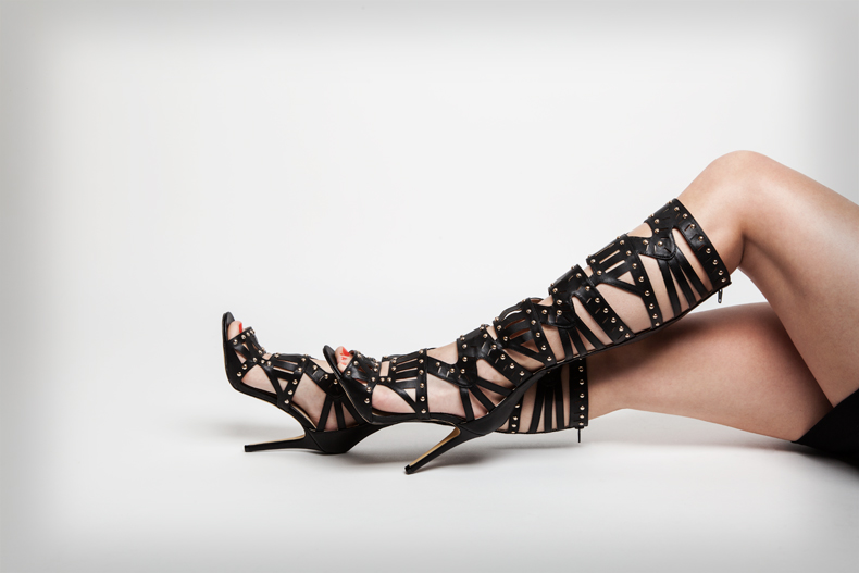 womens missguided studded gladiator knee high sandals in black faux-leather