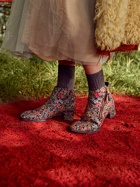 Red or Dead Patsy Parker ankle boots in tapestry fabric with floral print - schuh.