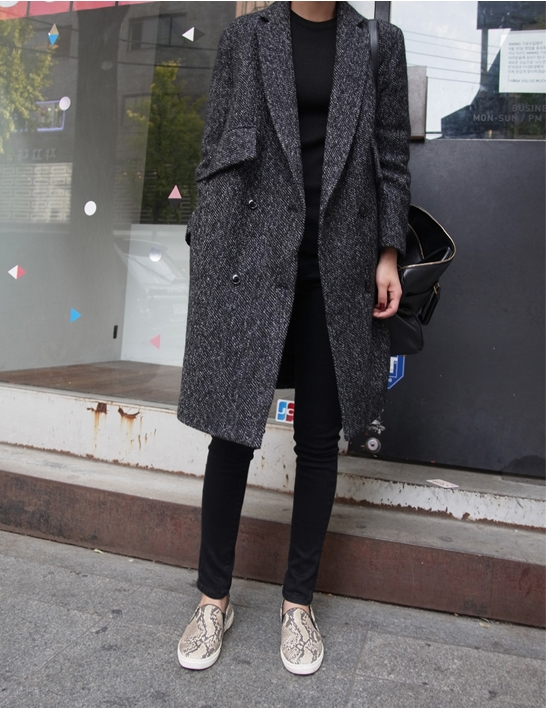 sneakskin slip on shoes worn with black jeans and top and grey wool coat streetstyle on schuh blog