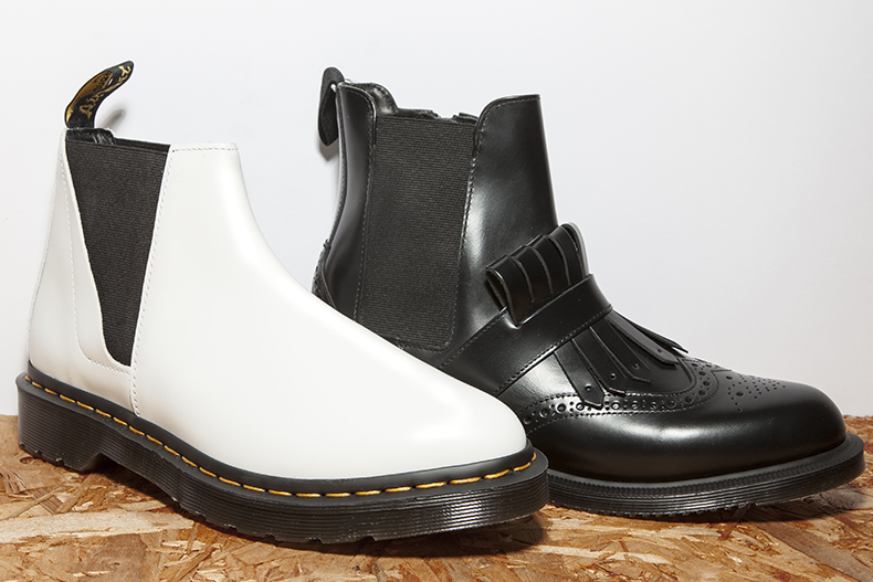 dr martens chelsea boots in black and white
