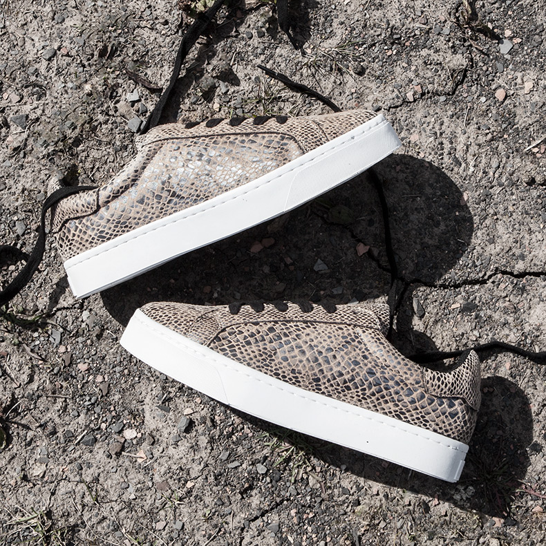 womens schuh volley plimsolls in stone and black with snakeskin print on schuh blog