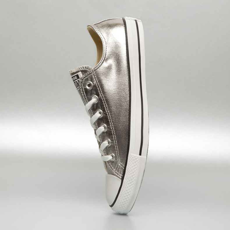 Converse classic all star ox in silver metallic canvas