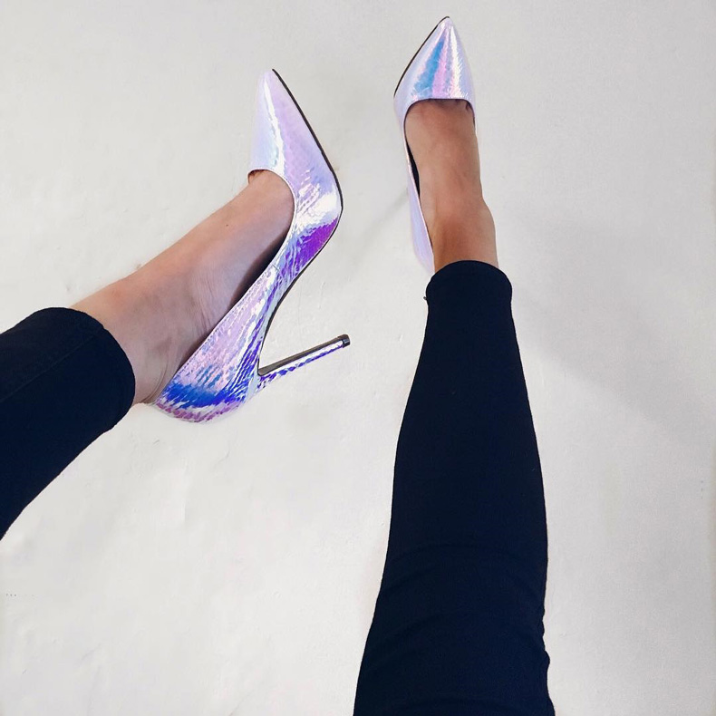 Missguided pointed toe court shoes with stiletto heel in holographic fabric