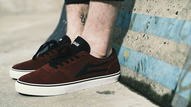 Lakai Manchester skate shoe in burgundy suede