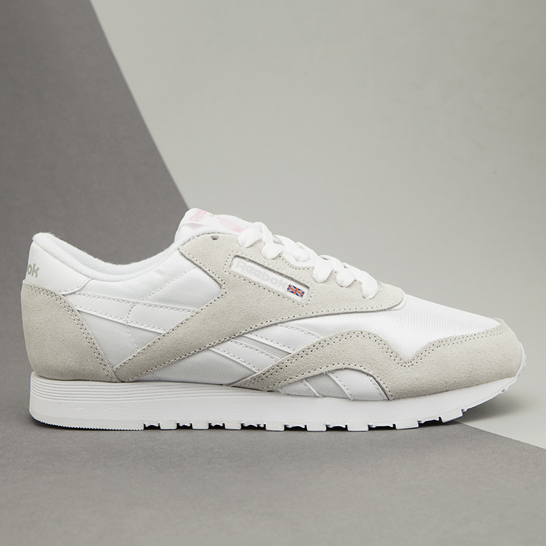 womens reebok classic nylon trainers in white and stone leather and suede on minimalist schuh blog